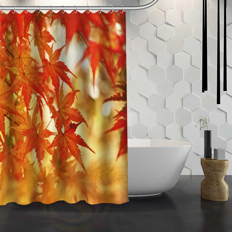 Hot Sale Custom Maple Leaves Autumn Shower Curtain Waterproof Fabric For Bathroom FY1 17 In Curtains From Home Garden On