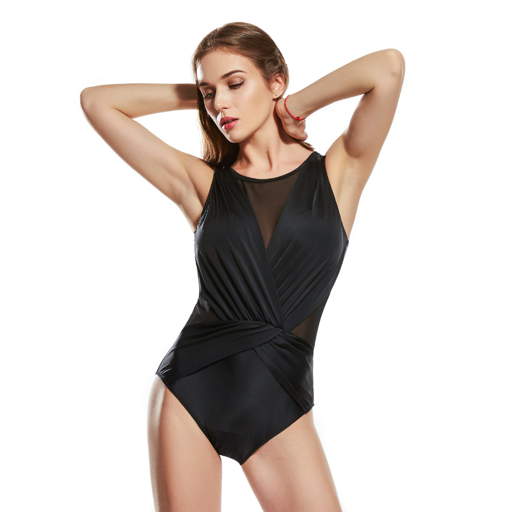 Fmale one-piece woman swimwear halter sexy round neck push up large size big cup plus bust swimsuit body  suit solid color sexy halter push up solid color three piece swimwear for women