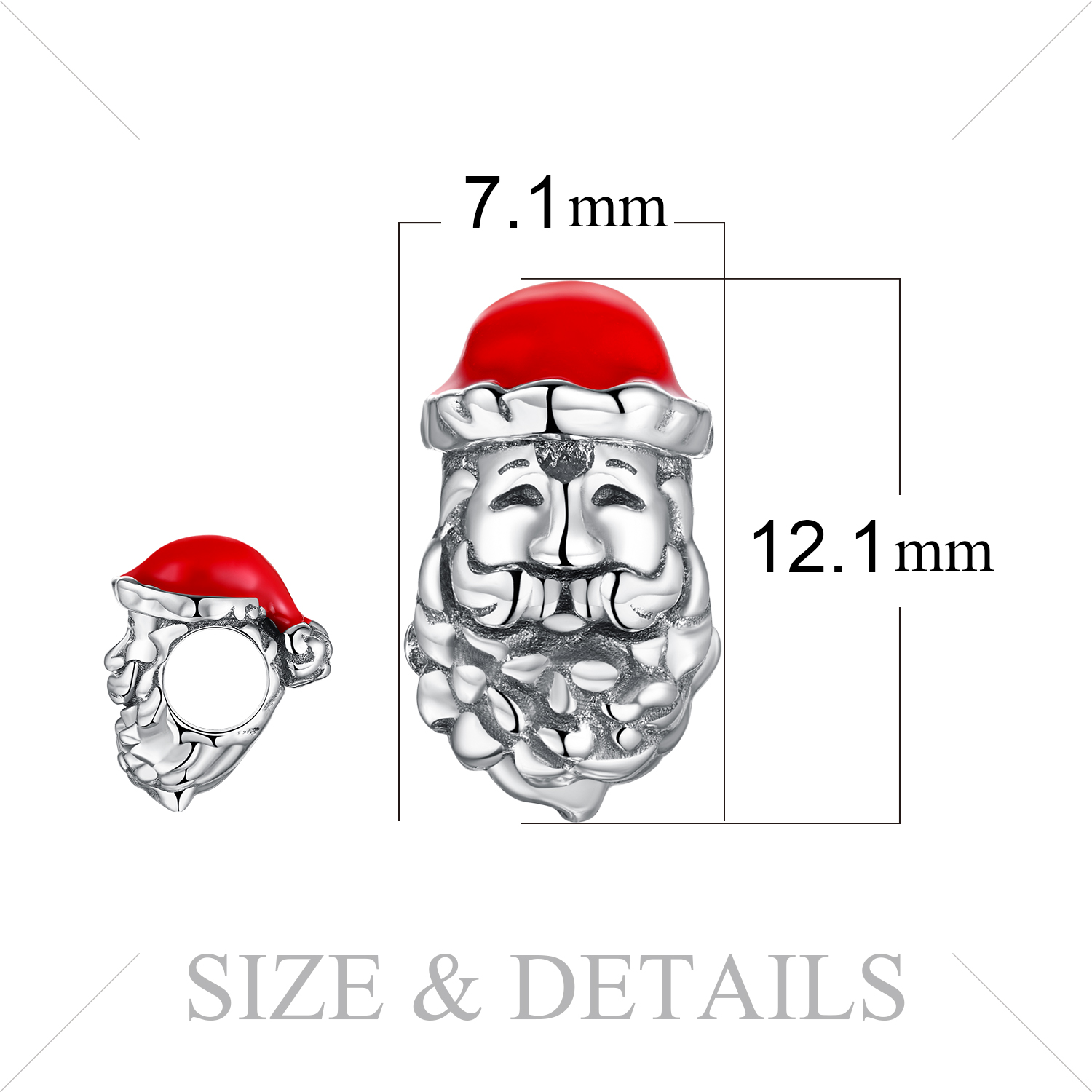 JewelryPalace 925 Sterling Silver Santa Claus Beads Charms Silver 925 Original For Bracelet Silver 925 original Jewelry Making in Charms from Jewelry Accessories