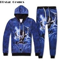 PLstar Cosmos Top And Pants Set Women Fashion Autumn Tracksuit 3d Skull Printed Hoodie 2 pcs Streetwear S-XXL