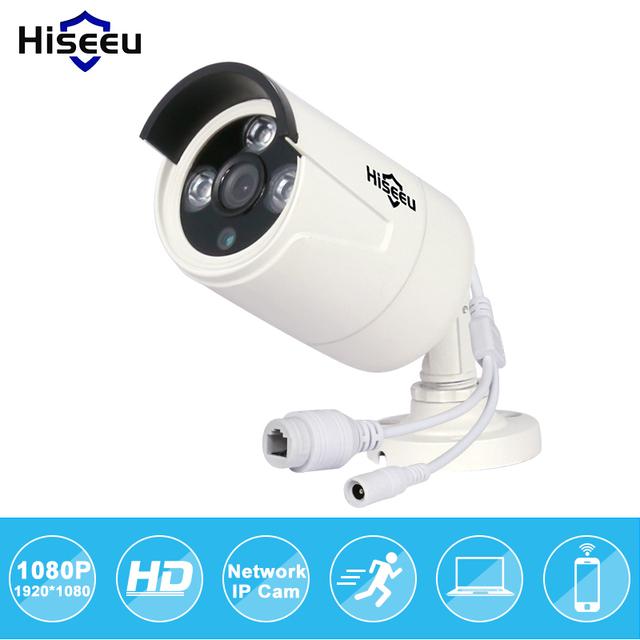 Hiseeu poe hd 1080 p 2.0mp mini bala câmera ip onvif wdr 2.0 Waterproof IR Outdoor CUT Night Vision P2P IP66 Remoto HB612