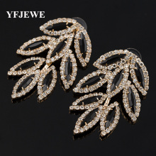 YFJEWE NEW Women Fashion Jewelry Style leaves long Earrings Handmade Rhinestone sweet stud crystal Dangle earrings for girl E011