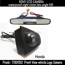 car-style sony CCD Vehicle logo Front view camera + front view monitor for Honda Odyssey New accord Civic CRV Spirior Crosstour