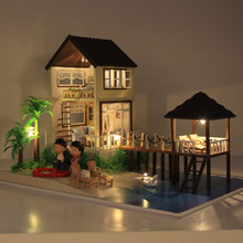 DIY Miniature Dollhouse Maldives Hand Assembled House Cute Families House Valentine's Day Gift Kids Toy Juguetes Brinquedos sylvanian families house diy dollhouse handmade building toys birthday gift dolls house furniture kids toy juguetes brinquedos
