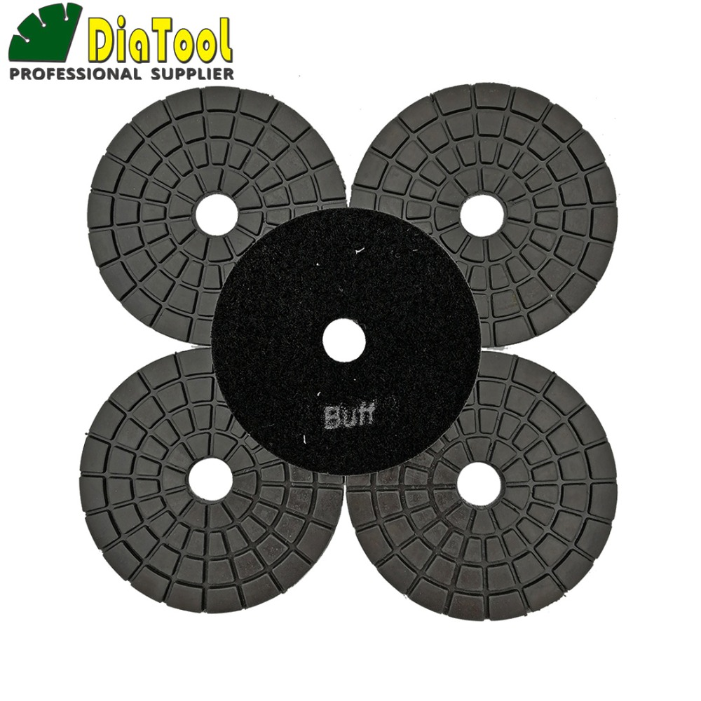 DIATOOL 5pcs Black Buff Professional Polishing Pads Resin Bond Diamond Sanding Disc For Granite Marble Ceramic Premium Quality