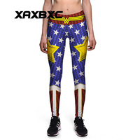 NEW Arrival 0080 Sexy Girl Old Glory The Avengers Wonder Woman Star 3D Prints High Waist