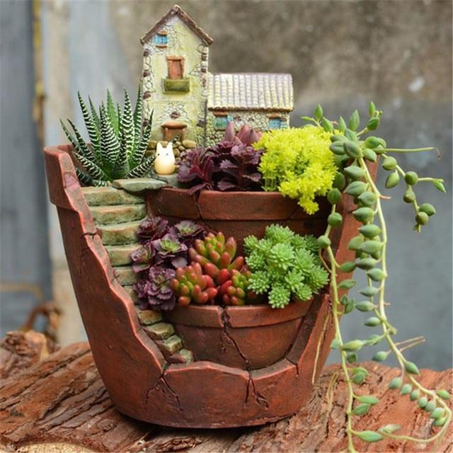 Super Fantasia Resina Plantador Suculenta Bonsai Flor Pote Jardim de  OU68