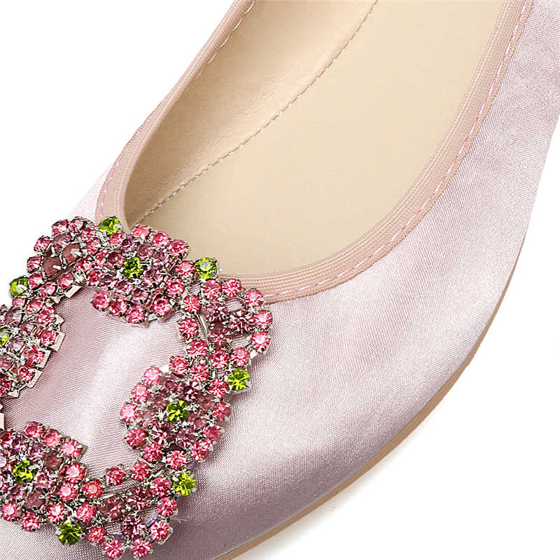 e1d8547105 HENSCARYING Fashion Moccasins Women Crystal Pointed Toe Ballet Flats  Rhinestone Flat Plus Size 41 42 Satin Shoes Zapatos Mujer