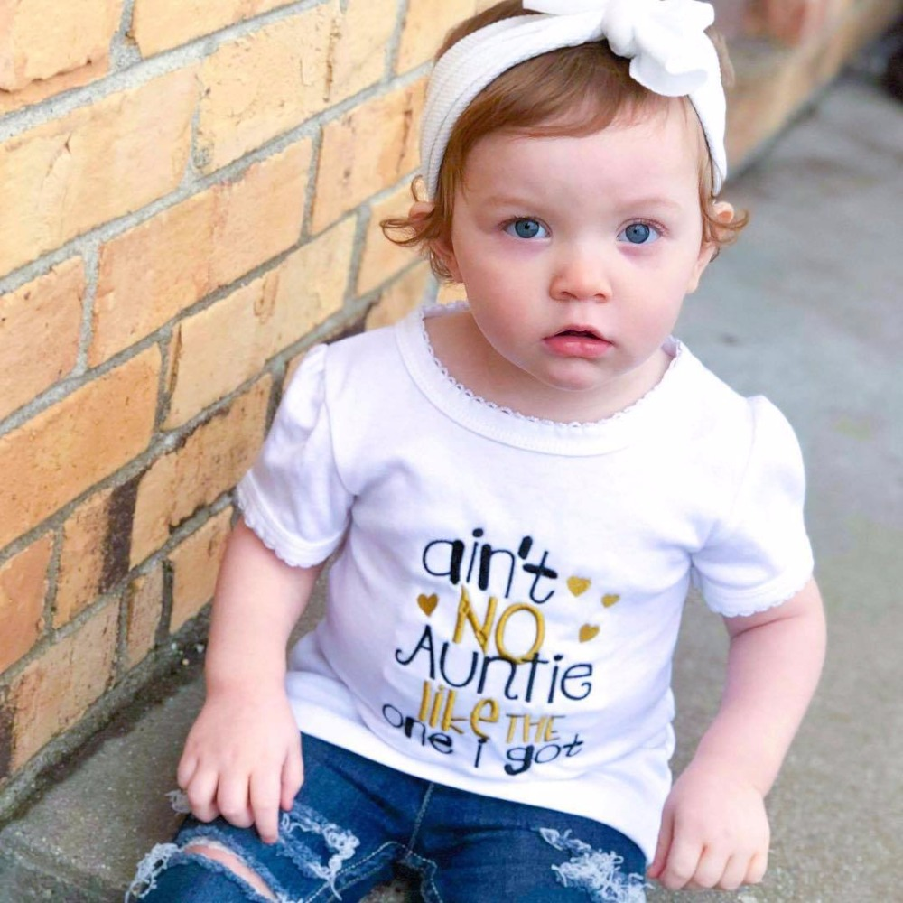2018 Infant Clothing Comfy Leisure Aint No Auntie Like The One I Get Letter Print White Boys Summer Tshirts Kids Fashion Tops