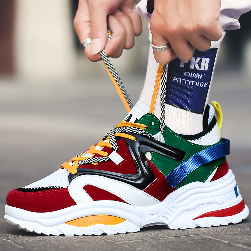 Sooneeya New Four Seasons Youth Fashion Trend Shoes Men Casual Ins Hot Sell Sneakers Men New Colorful Dad Shoes Male Big Size 12