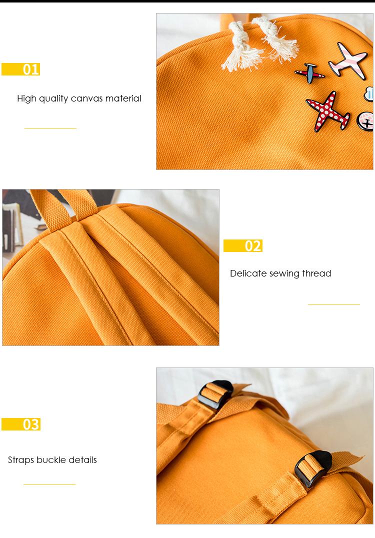 Menghuo 5 Pcsset Women Backpacks Cute Plane Badge School Bags For Teenage Girls Simple Canvas Backpacks Ladies Shoulder Bags (3)