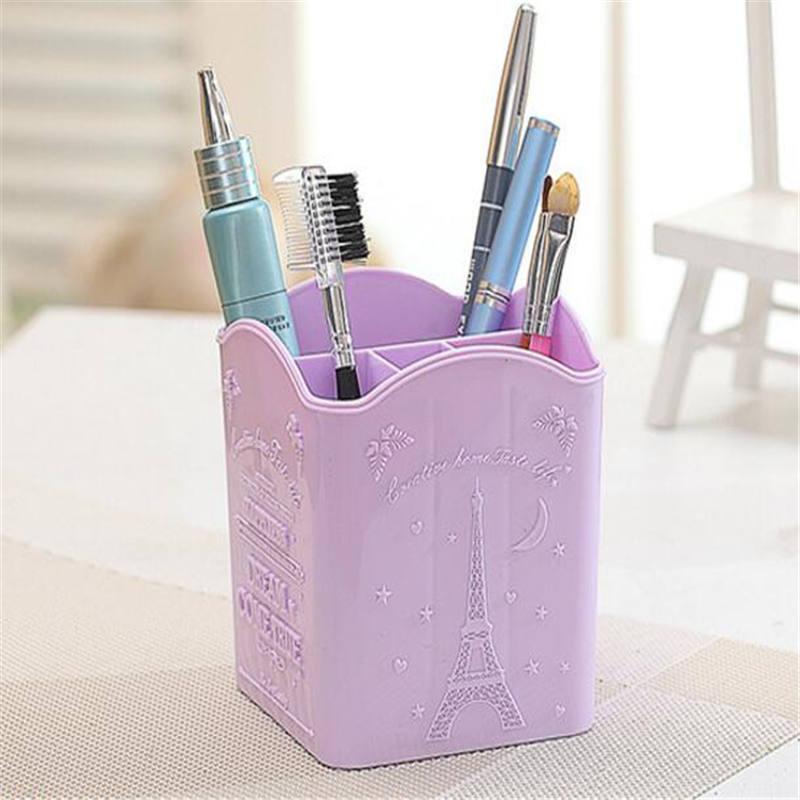 Office Storage Box Creative Four Compartment Storage Box Multi-purpose Plastic Pen Holder Home Office Desk Makeup Tool Organizer