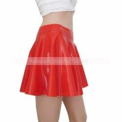 Solide Rot Sexy Latex Mädchen Mini Rock Solide Gummi Latex Frauen Allgleiches Kleidung S-LD068A
