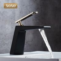 XOXO black white bathroom basinfaucet Hollow shape bath Waterfall faucets single handle water mixer tap 80015