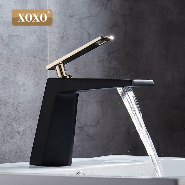 XOXO black white bathroom basinfaucet Hollow shape bath Waterfall faucets single handle water mixer tap 80015