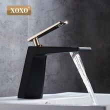 XOXO siyah beyaz banyo basinfaucet içi boş şekil banyo şelale musluklar tek kolu su musluk bataryası 80015