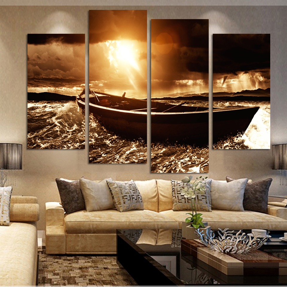 Color printing tamu - New Fallout Boat Beside The Sea Oil Painting Wall Art Home Decor Canvas Print Living Room