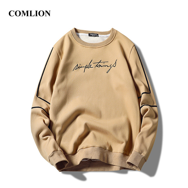Male Long Sleeve Letter Embroidery Pullover Men T-shirts / Shirts color: Black|Blue|Khaki|Red|White