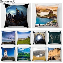 Fuwatacchi Scenic Print Cushion Cover Architectural Scenic Buildings Sea Beach Pillowcase Sofa Home Decor throw pillows Cover цены