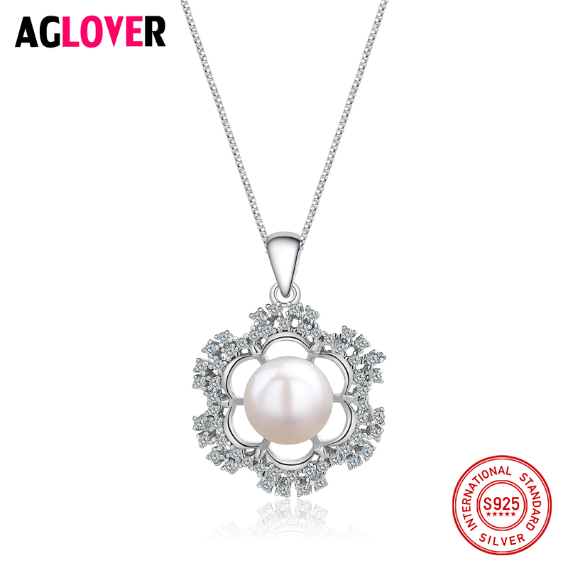 925 Sterling Silver Necklaces Fashion Charm Pearl Woman Pendant Necklace Luxury Female Silver Jewelry in Necklaces from Jewelry Accessories