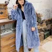 2018 зимние модные пальто с мехом новые женские туфли на кроличьем меху пальто Для женщин длинная куртка с секциями меха большой Размеры женс