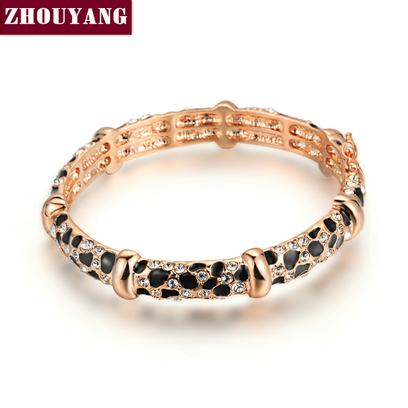 ZYB026 Leopard Printing 18K Rose Gold Plated Bangle Jewelry Made With Genuine SWA Elements Austrian Crystals