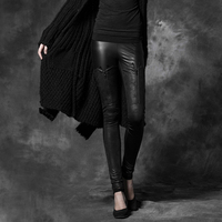 Steampunk Gothic Simple Design Solid Color Black Stretch Pants for Women Casual Close Fitting Leggings