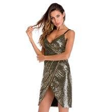 Women Sparkling Sequin Dress Sleeveless Sexy Deep V Neck Split Slim Mini  Glitter Party Dresses female fbd5d55b65e2