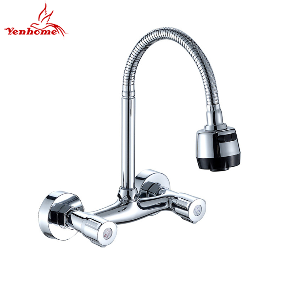 Wall Mounted Stream Sprayer Kitchen Faucet Dual Handle Chrome Brass Flexible Hose Sink Cold and Hot Water Mixer Taps Dual Holes hecig wax