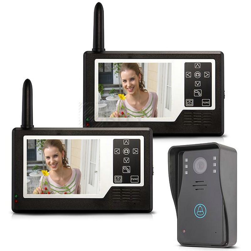 Free shipping 3.5 inch 2.4G wireless color video door phone intercom doorbell IR outdoor camera+2 monitor indoor units 3501A12