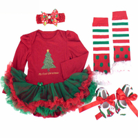 Infant Baby Girl Christmas Clothing Bebes Tutu Dress Romper Christmas Tree Jumpsuit Outfit My First Birthday Costume Party Gifts