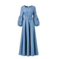 Jeans Denim Long Puff Sleeve with Sashes A Line Dress New Arrival Women O Neck Autumn Spring Blue Jeans Plus Size Dresses