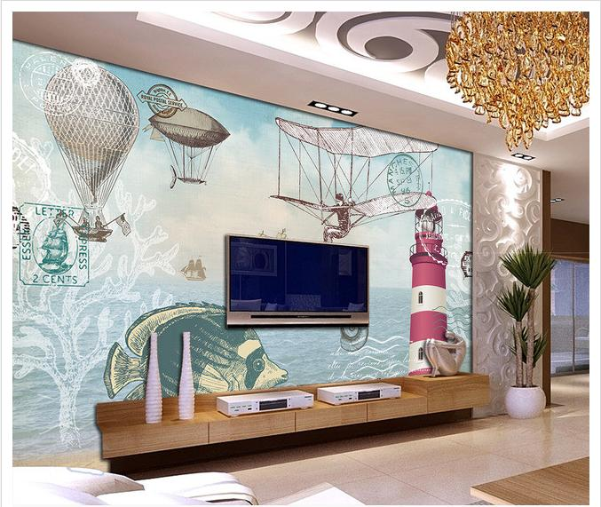 Customized 3d wallpaper 3d wall murals wallpape Nostalgic hand-painted navigation beacon ...