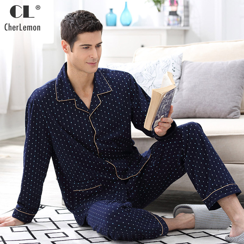 CherLemon 100% Premium Cotton Long Sleeve Pajamas Mens Spring Autumn Classic Polka Dot Pyjama Sets Male Nightwear Navy M-4XL