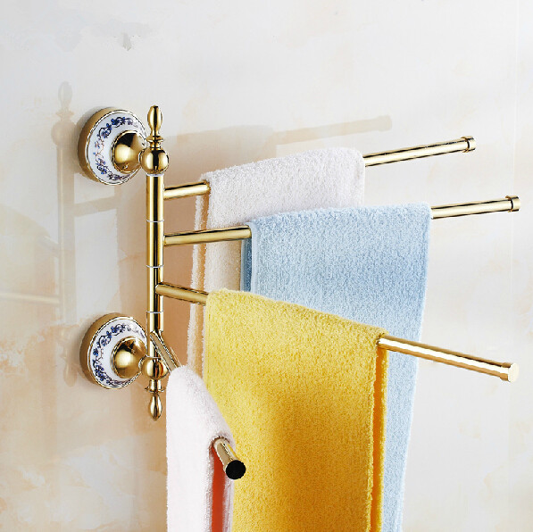ФОТО 2015 gold towel Arms Wall Mounted Brass towel holder Bathroom Shelf Bathroom Accessories Towel Bar Towel Racks