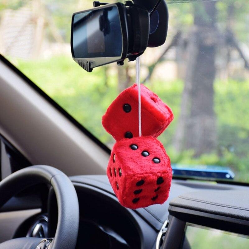 car ornaments plush dice pendant interior rearview mirror pendant