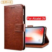 SRHE For Alcatel 3V Case Cover Flip Luxury Leather With Magnet Wallet 5099D 5099 Alcatel3V