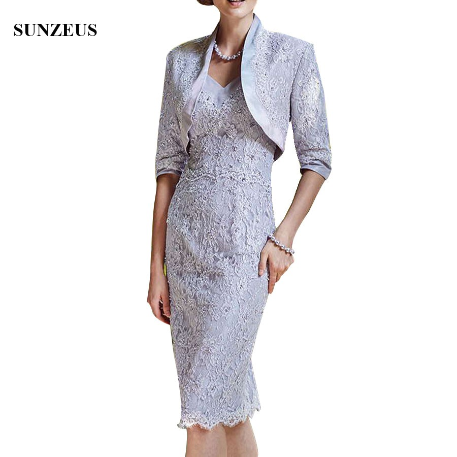 Vintage Lace Mother Of Bride Dresses With Beads Women Formal Party Gowns With Jacket Knee Length Sheath Wedding Guest Dress