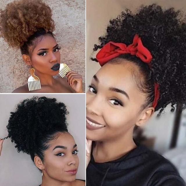 Afro Puff Cordón de cola de caballo sintético corto rizado peluca negro Cola de Caballo para pelo Natural Afro Buns abrigo extensión de cabello