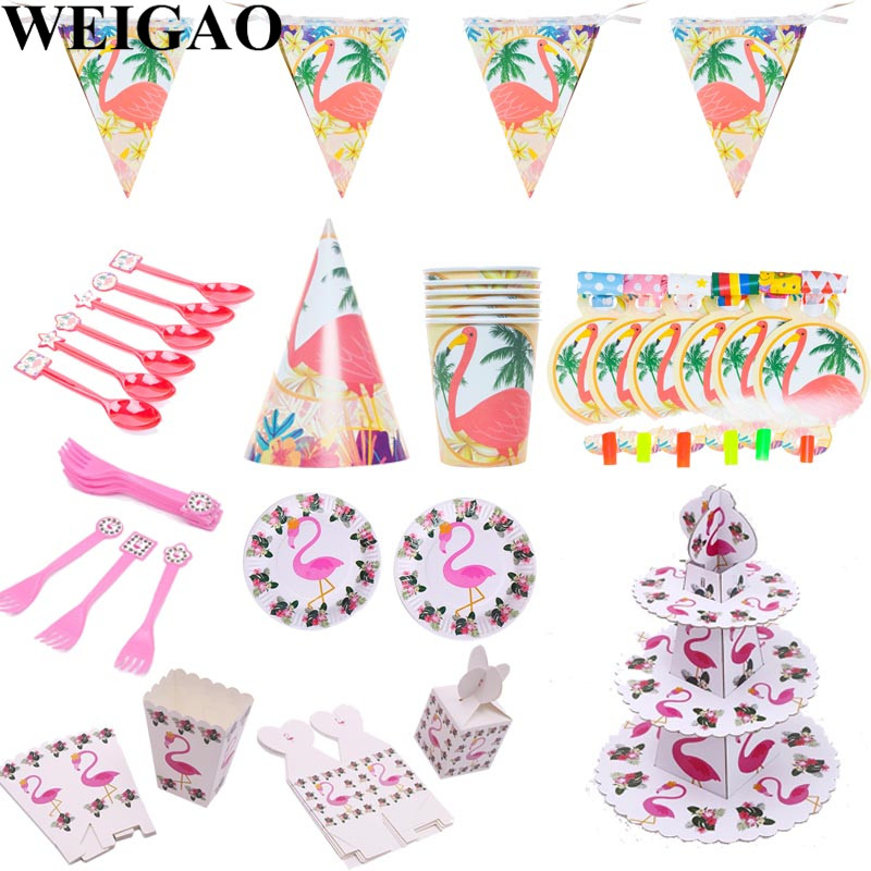 WEIGAO Flamingo Party Disposable Tableware Set Kids Happy Birthday Party Cup Hat Candy Box Paper Napkin Plate Baby Shower Decor