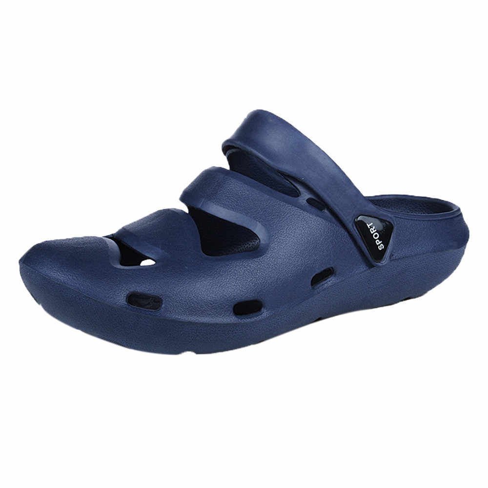 18db1ee43 ... Unisex Breathable Casual Outdoor Beach Slippers Comfort Anti-Slip  Shower Sandals 2018 Mens Summer Beach ...