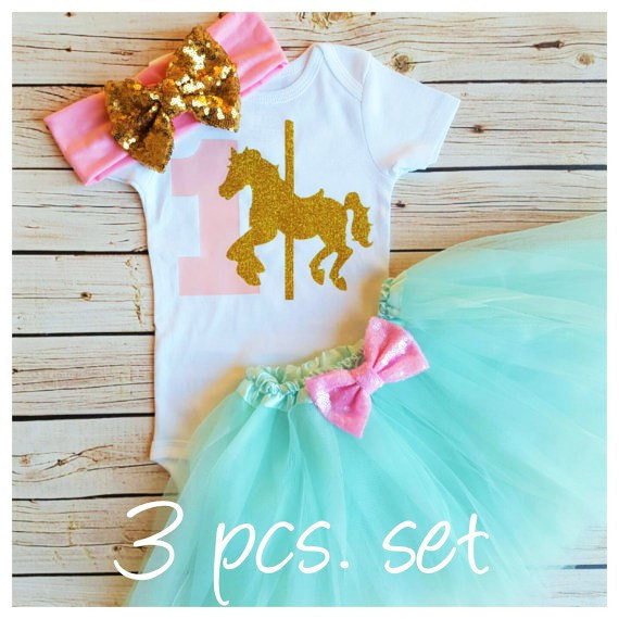 0ffa29454ba9 custom Carousel Horse first birthday Newborn infant bodysuit onepiece Tutu Dress  romper Outfit Sets baby shower party favors
