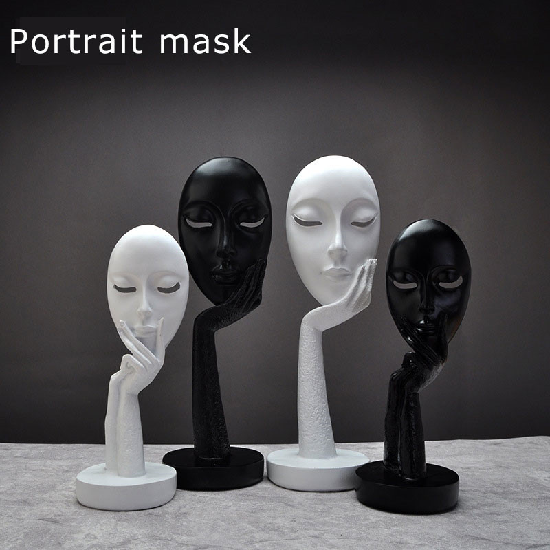 Nordic Black White Face Figurines Resin Masks Ornaments Handmade 1