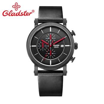 Gladster Luxury Fashion Chronograph Japan MIYOTA OS10 Quartz Black Stainless Steel Man Wristwatch Casual Individual Male Watch