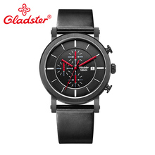 Gladster Luxury Fashion Chronograph Japan MIYOTA OS10 Quartz Black Stainless Steel Man Wristwatch Casual Individual Male Watch