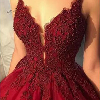 Vestidos de Fiestas 2019 Sexy Women Burgundy Prom Dresses Lace Beads Pageant Party Dress Formal Evening Gowns Gala Special Baile