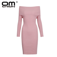 941a8410d46 OMCHION Vestidos 2018 Winter Sexy Tight Sweater Dress Women Casual Elegant  Slash Neck Long Sleeve Knitted