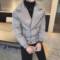 2017 Corea Moda de Cobertura de Cuello Cruzado Fresco Acolchado Para Hombre chaqueta Slim Fit Hip Hop Grueso Abrigo de Invierno Parka Hombres chaquetas
