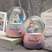 New unicorn crystal global snow cartoon rainbow figurine home decoration fairy garden miniatures christmas figurines