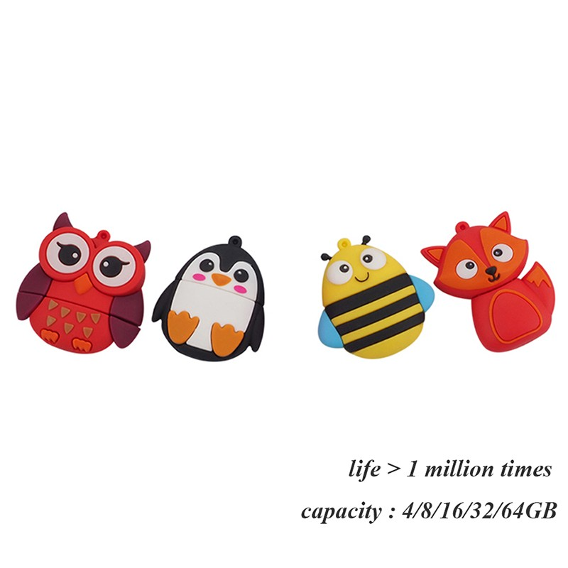 Pendrive Bee USB flash drive Penguin კალამი დისკი Fox მეხსიერება Flash Red Owl USB Flash 4gb 8gb 16gb 32gb Flash Drive 64gb კლავიშ USB